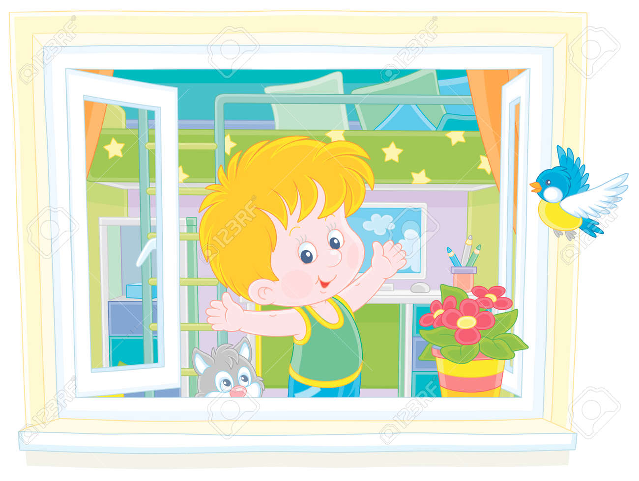 Little Boy Doing Gymnastic Exercises By An Open Window In His Royalty Free Cliparts Vectors And Stock Illustration Image 154718532