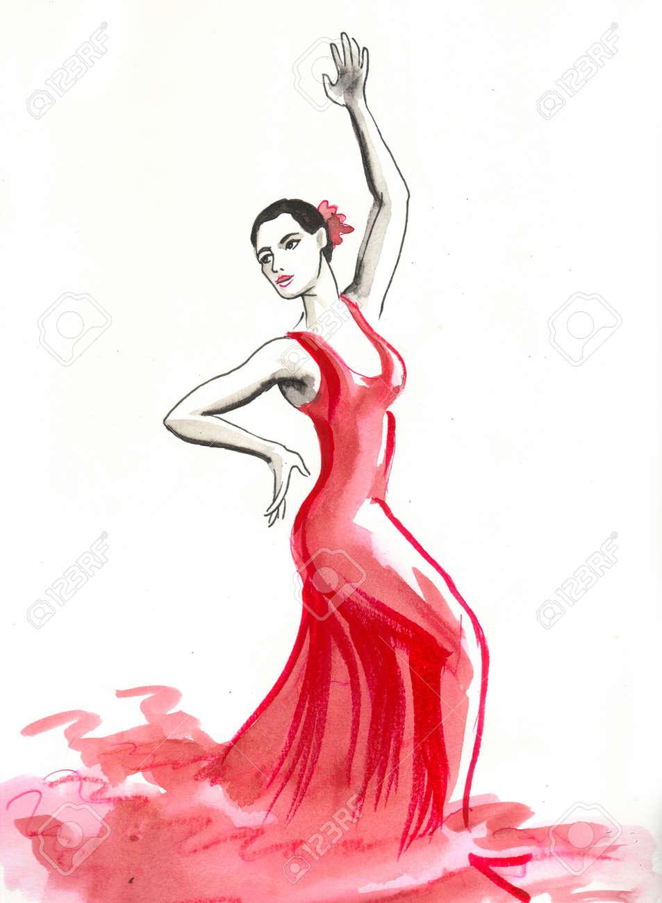 Beautiful Spanish woman dancing flamenco - 134771778