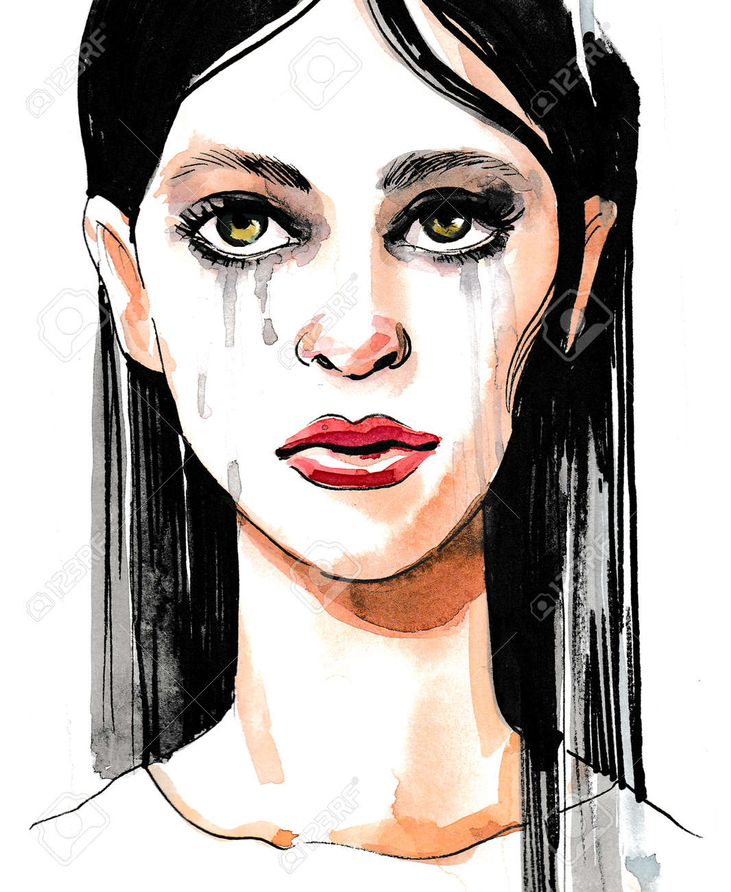 crying woman ink and watercolor sketch stock photo picture and