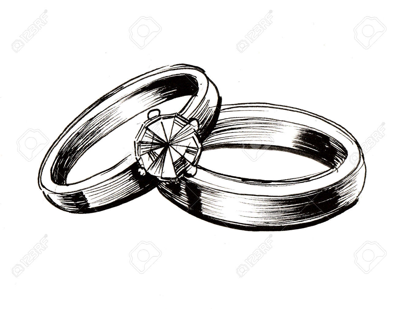 Wedding rings. Ink black and white illustration - 104414351