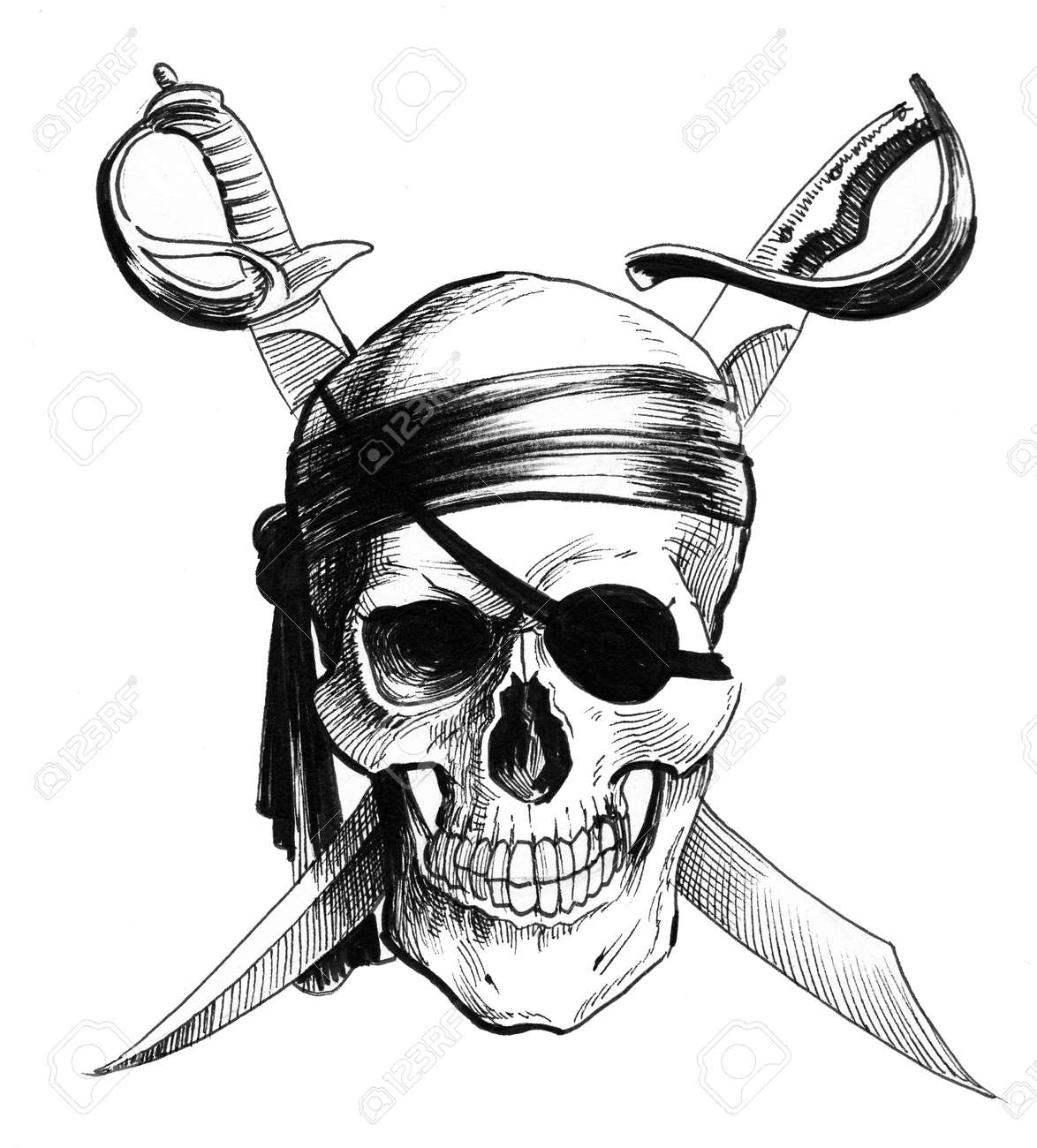 Pirate skull and crossed sables. Ink black and white illustration - 137305790