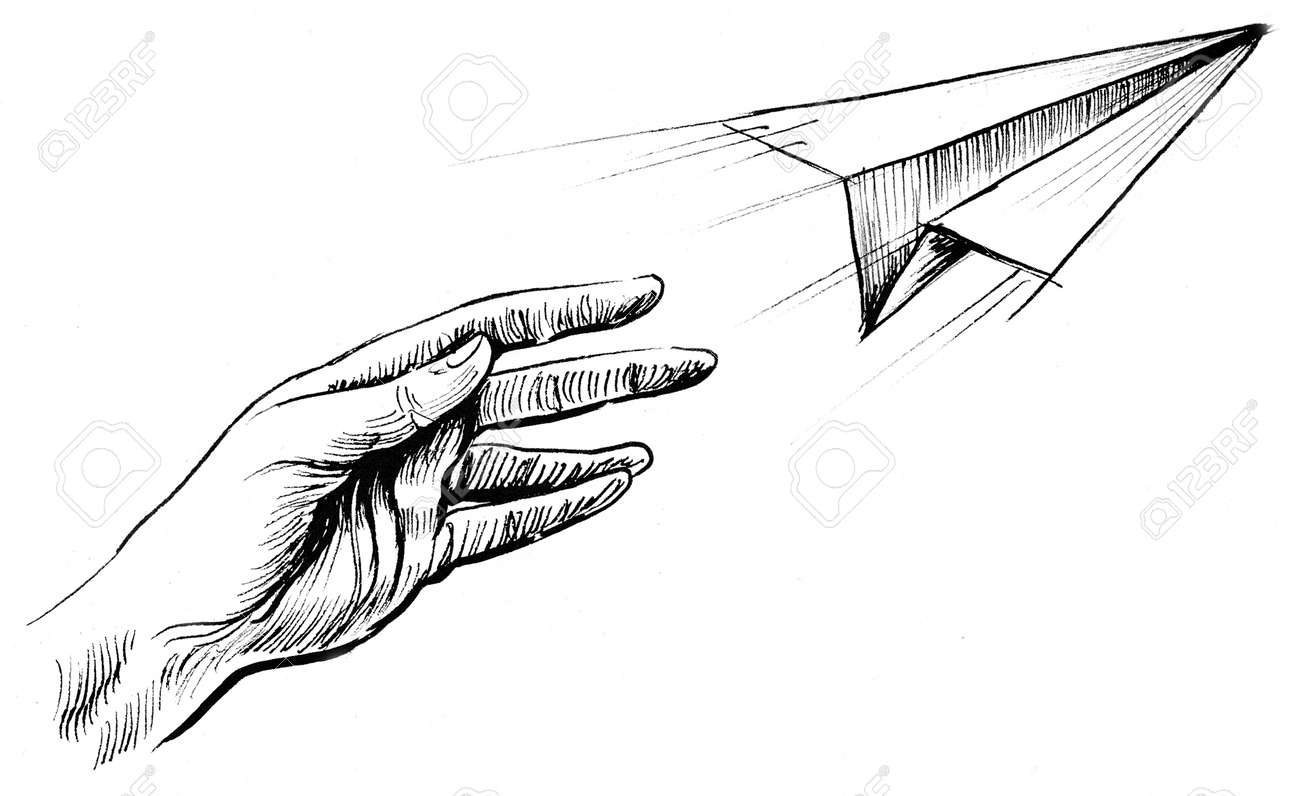 Hand Throwing A Paper Airplane Ink Black And White Drawing