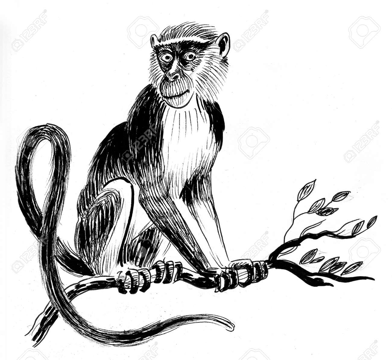 Abstract Monkey In Tree Portrait Neutral Block Colour Unique Print