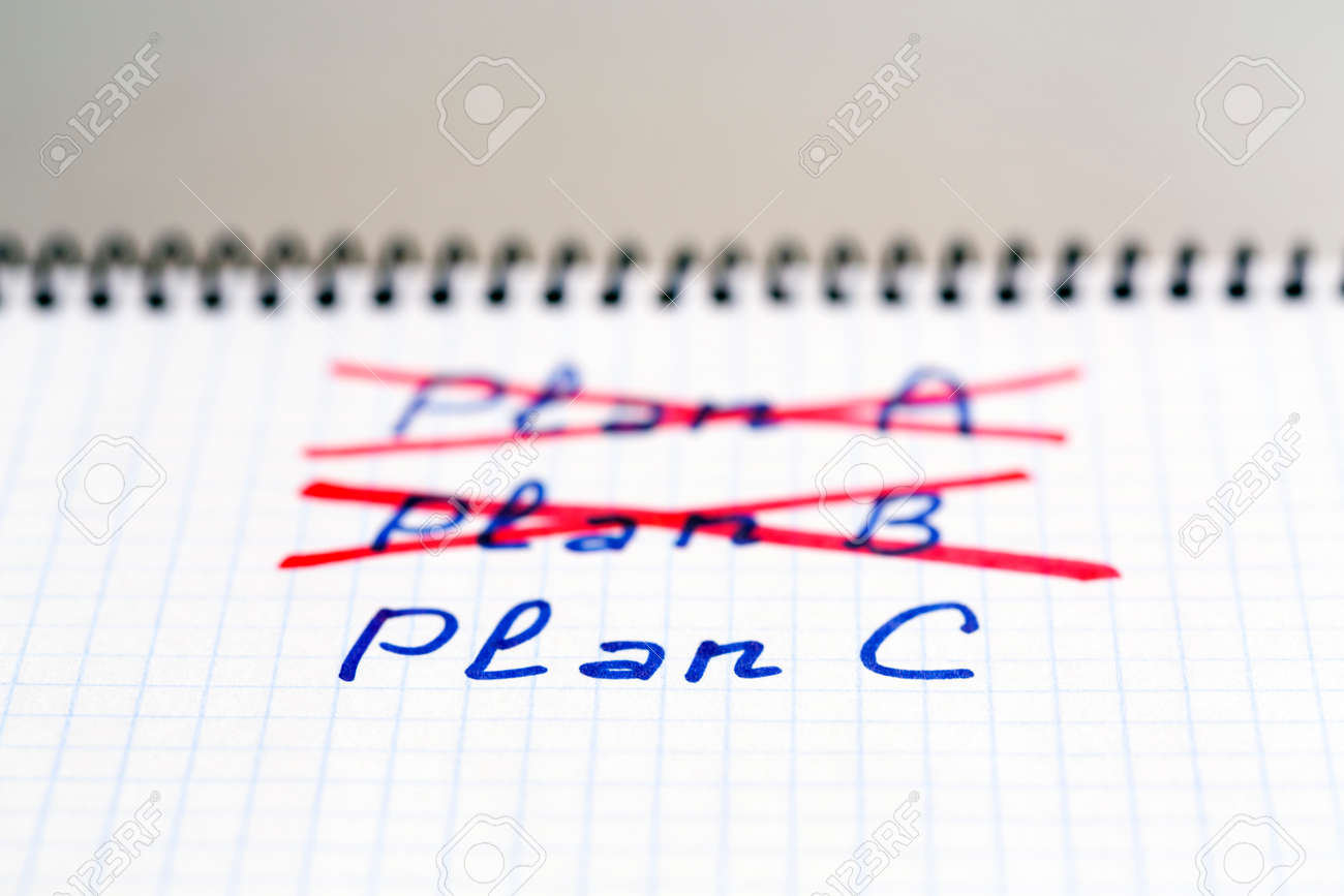 Plans A and B failed we need plan C Handwritten phrases PLAN A and B crossed out with red pencil PLAN C phrase written below - 44625752
