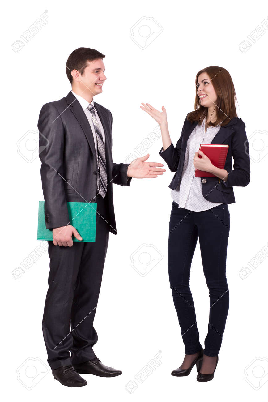 Emotional conversation Young male and female, officially dressed, discussing and hand gesturing - 44695366