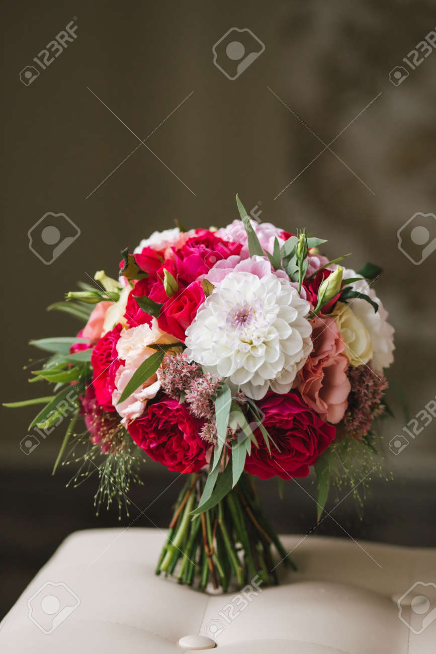 Beautiful Wedding Bouquet With White Gerbera And Pink Peonies Stock Photo Picture And Royalty Free Image Image 80988643