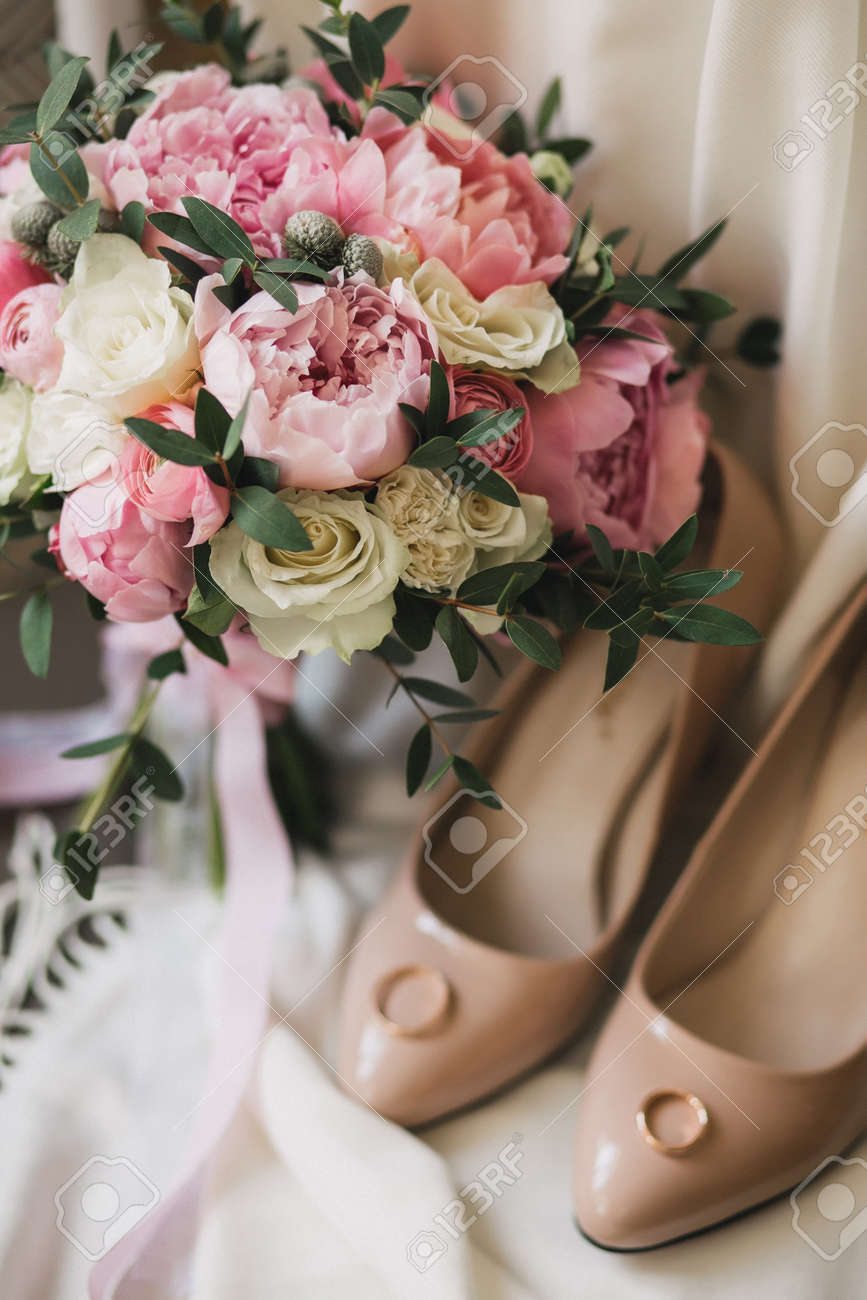 A Wedding Bouquet Of Pink Peonies White Roses And Eucalyptus Stock Photo Picture And Royalty Free Image Image 78459960