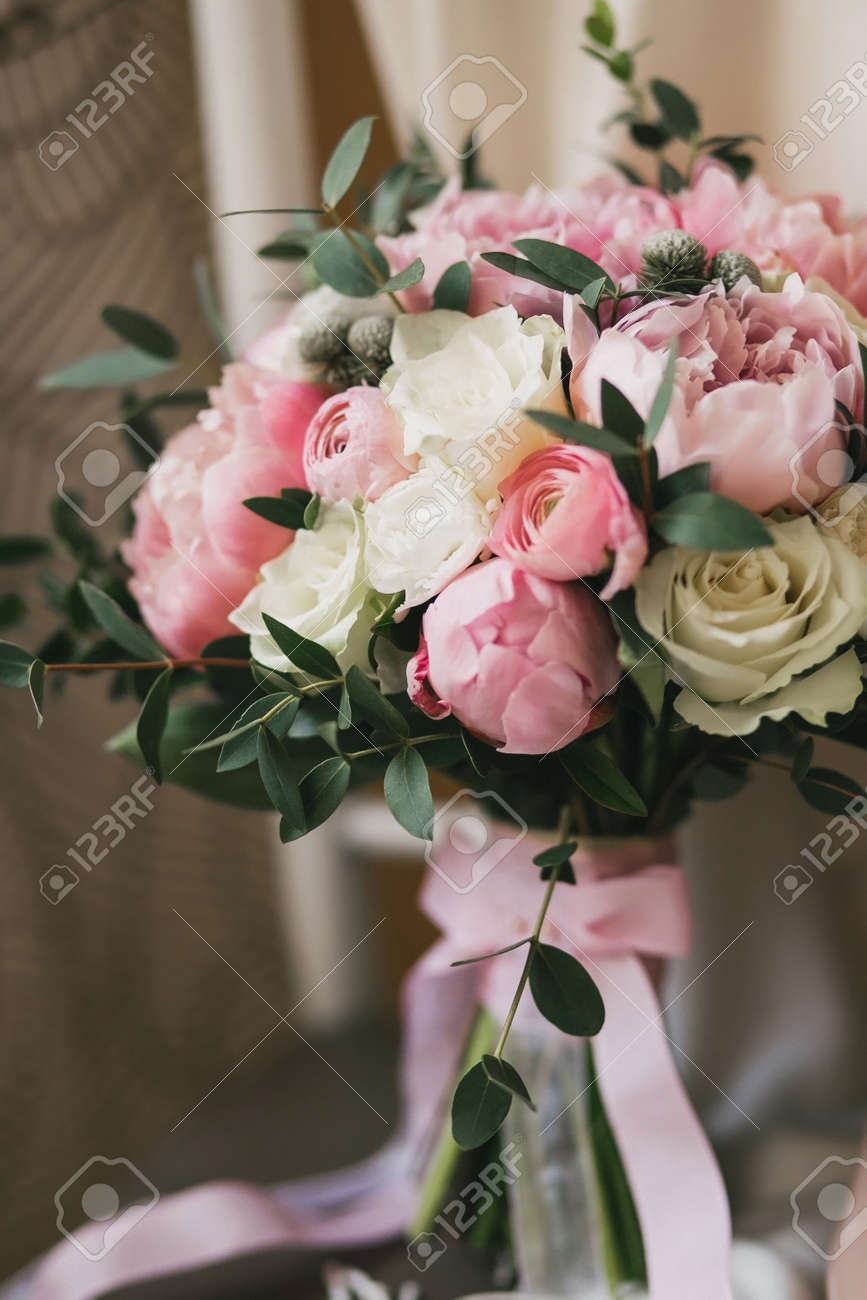 Beautiful Wedding Bouquet With White Roses And Pink Peonies And Stock Photo Picture And Royalty Free Image Image 79336019