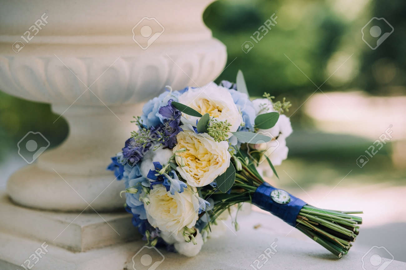 A Beautiful Blue Wedding Bouquet With White Peonies, Hydrangea ...