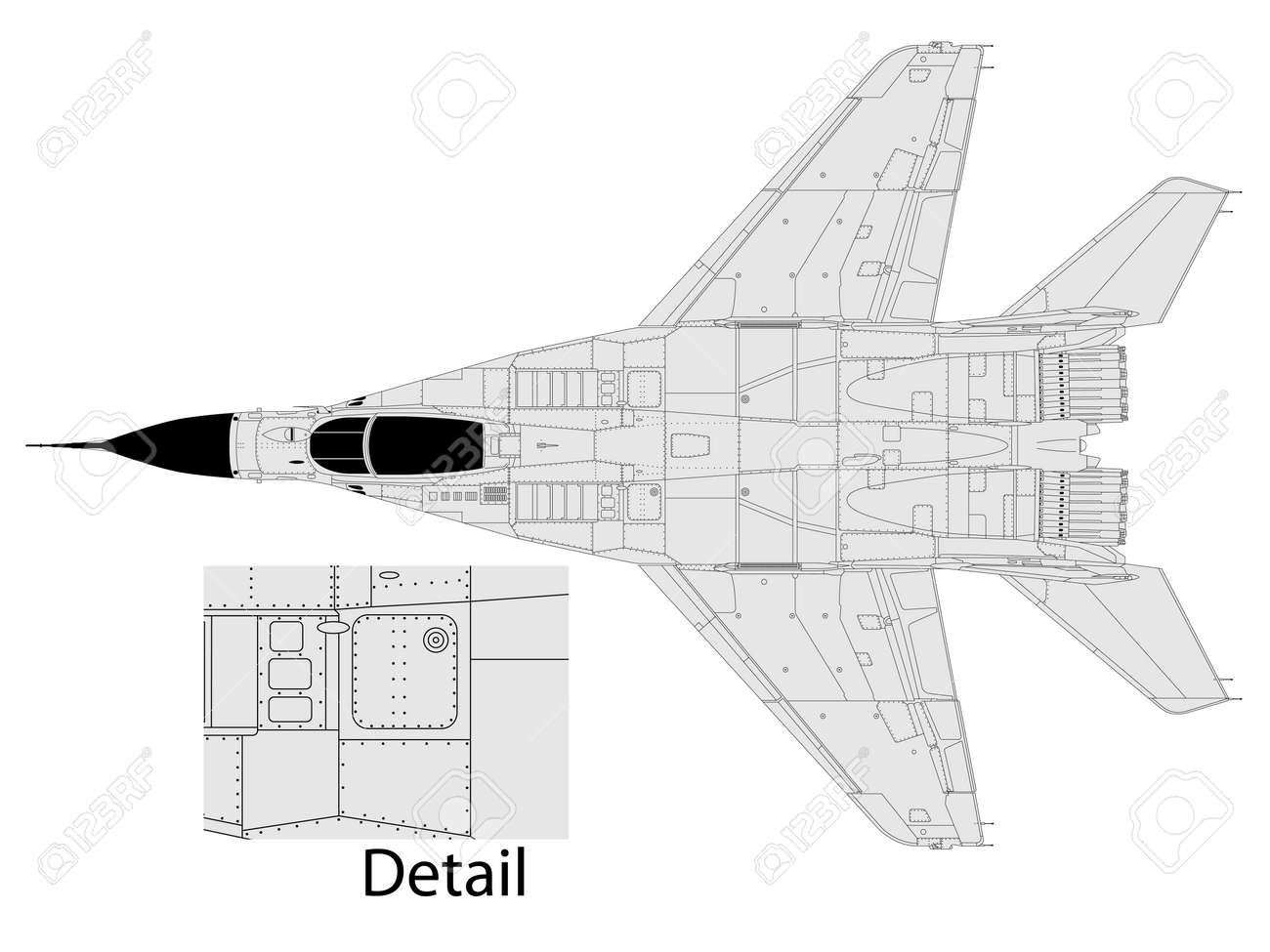 High detailed vector illustration of a modern military airplane - 11137219