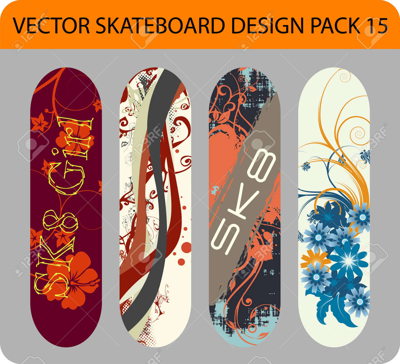 Full editable pack with four skateboard designs - 12002187
