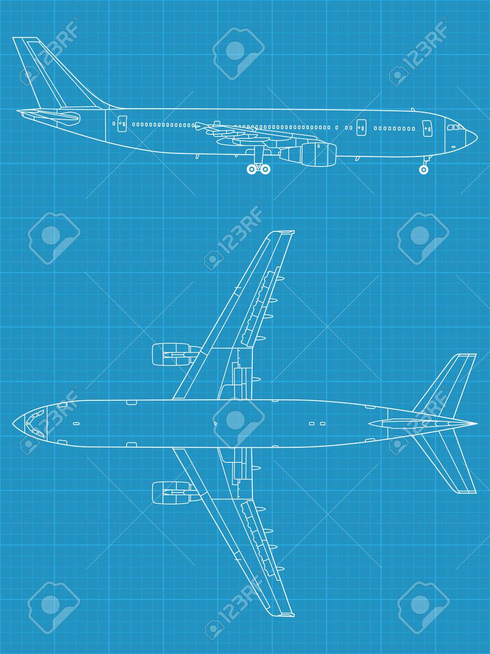 7a154a9953ac Banque d images - Haute illustration vectorielle détaillée de l avion  civile moderne - vue de dessus et de côté