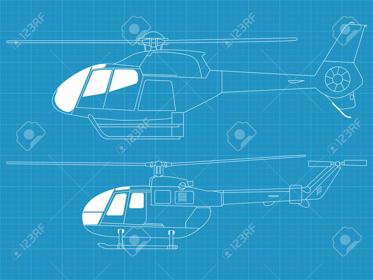 Vector pack of two high detailed helicopters - side view - 12498380