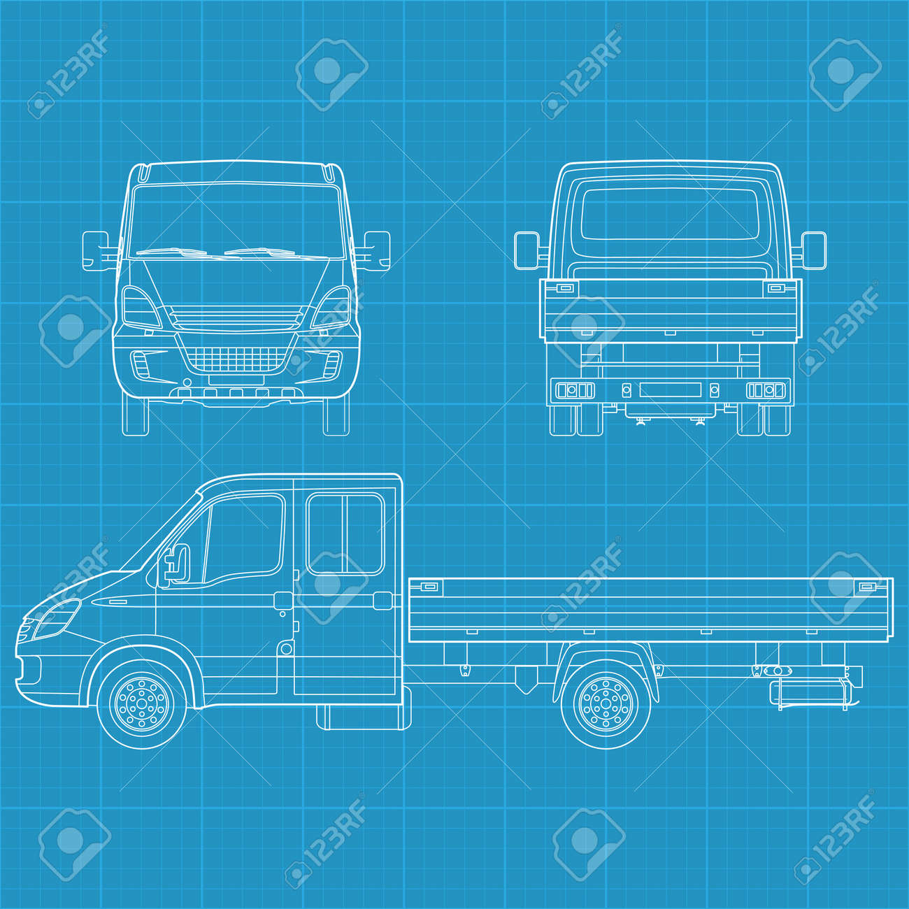 High detailed vector illustration of a truck - three side view - 12498392