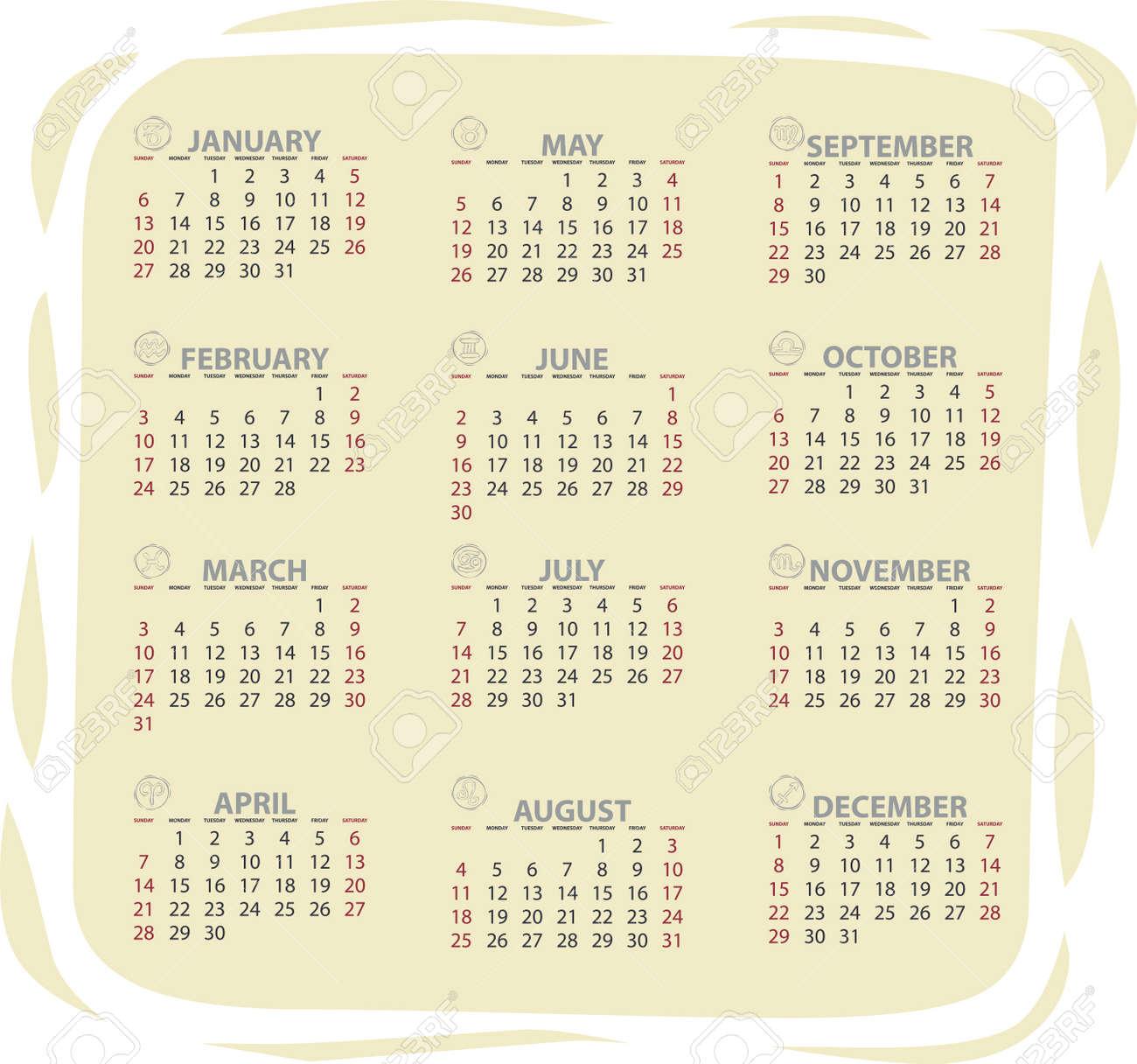 Full editable 2013 vector calendar with zodiac signs