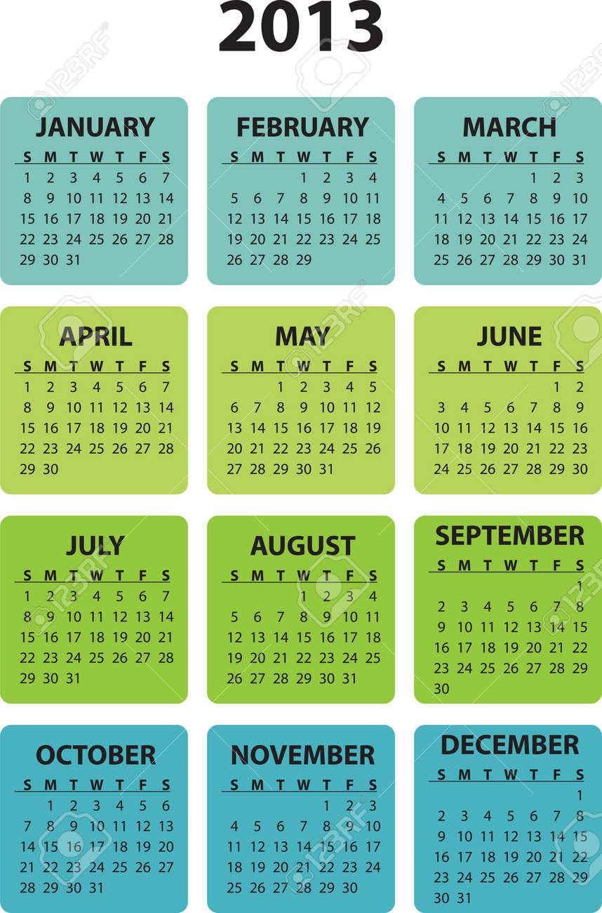 Full editable 2013 vector calendar - weeks starts sunday - 13104992