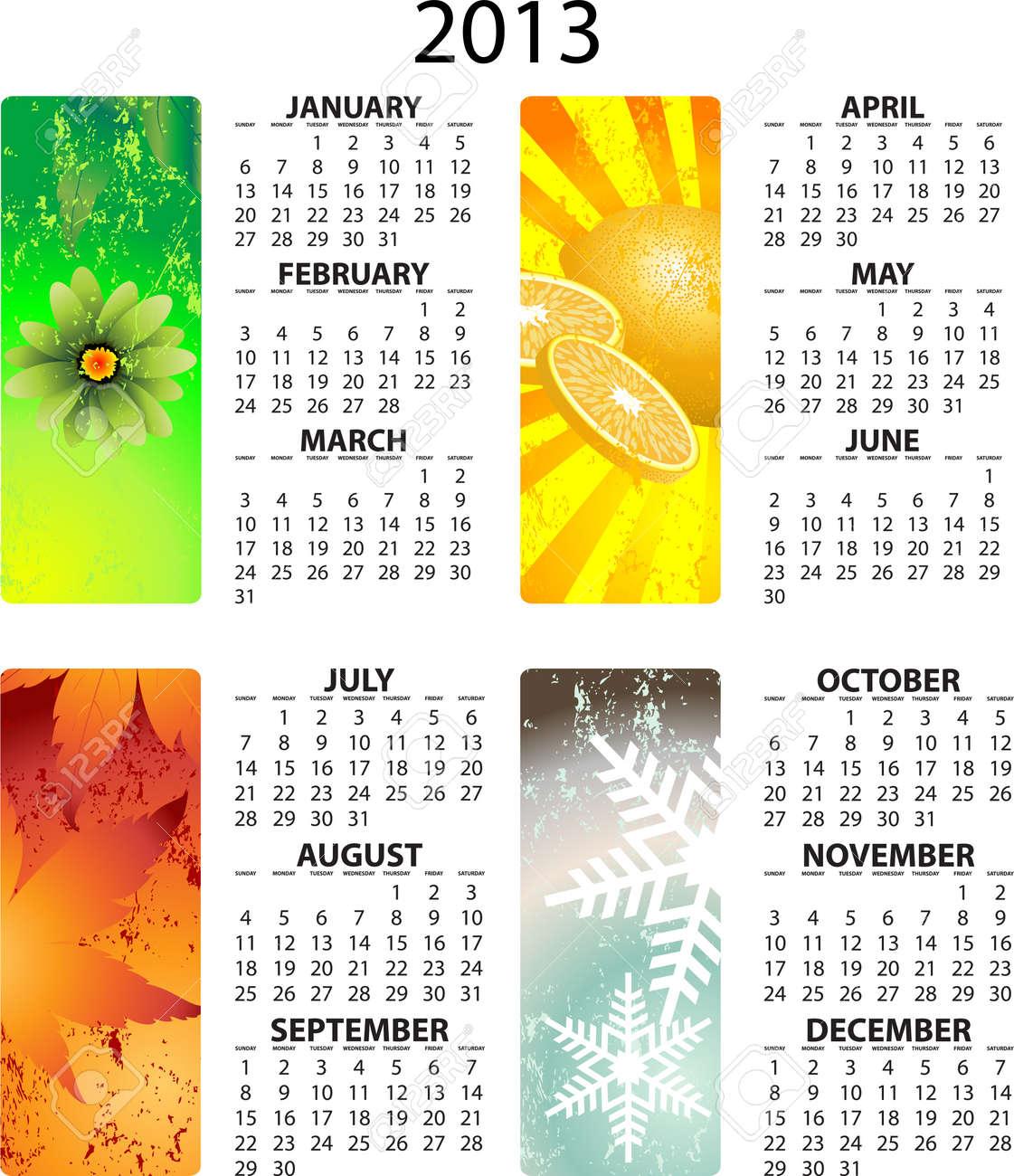 Full editable 2013 vector calendar - with season illustrations Stock Vector - 13105000