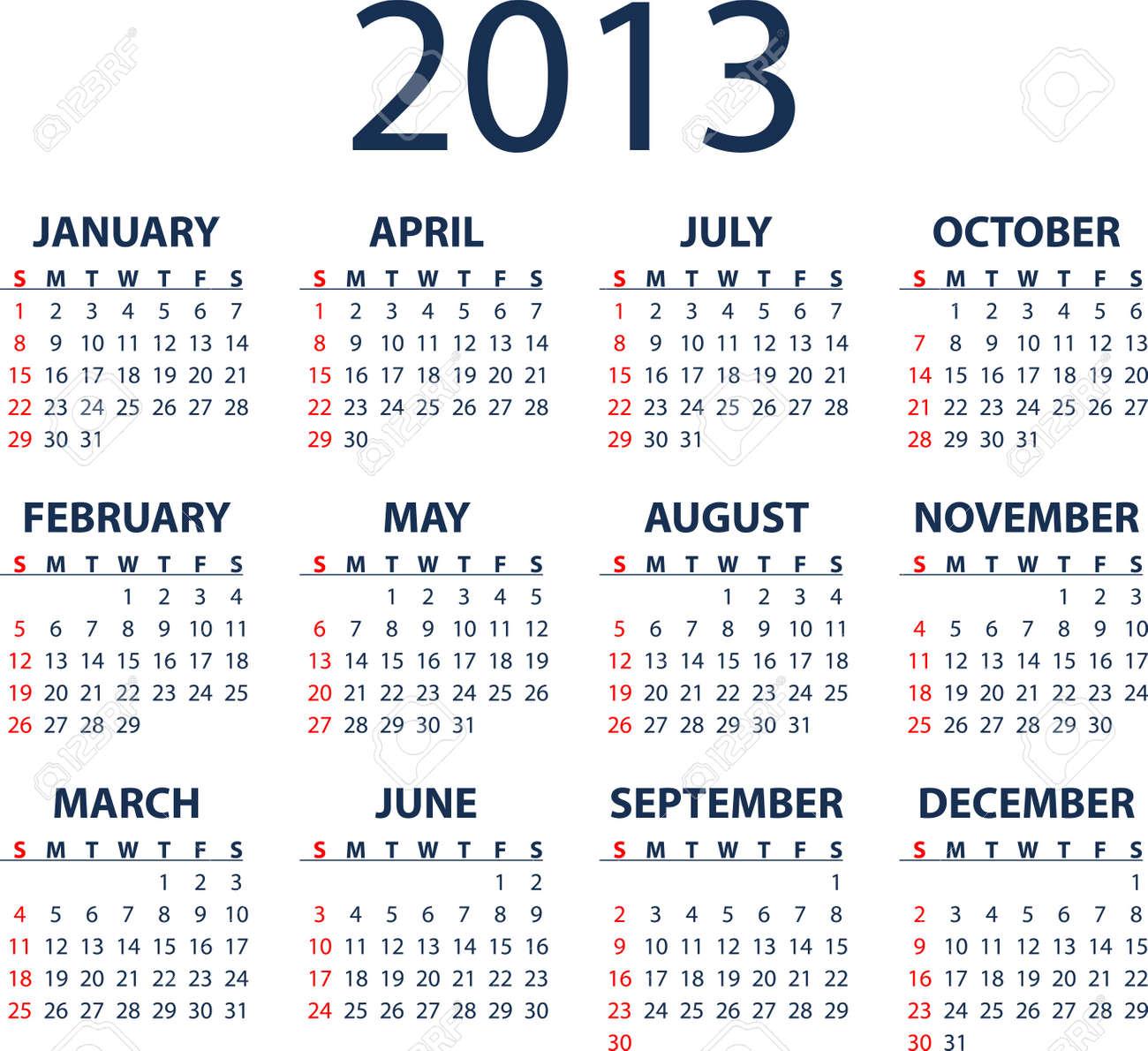 simple full editable 2013 vector calendar weeks start sunday