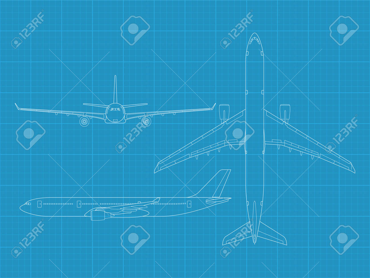 high detailed vector illustration of modern civil airplane - top, front and side view - 13506540