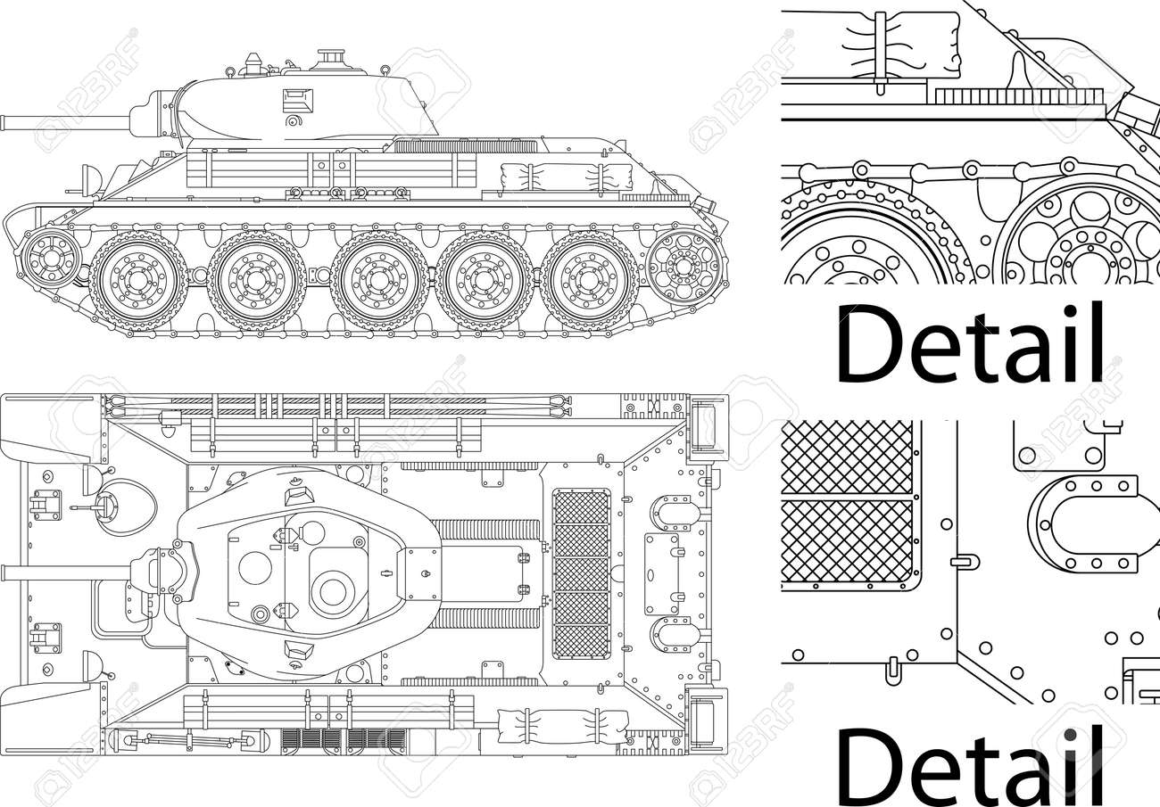 High detailed vector illustration of T34 - WWII Russian tank - side and top view - 13506549