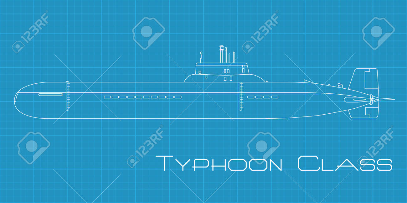 High detailed vector illustration of a Submarine from Typhoon class - 13506541