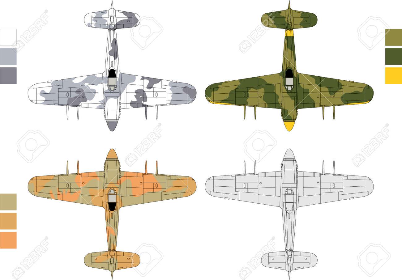 6cb4daef3adb Banque d images - Haute illustration vectorielle détaillée de l avion  militaire ancienne - vue de dessus avec trois motifs de camouflage