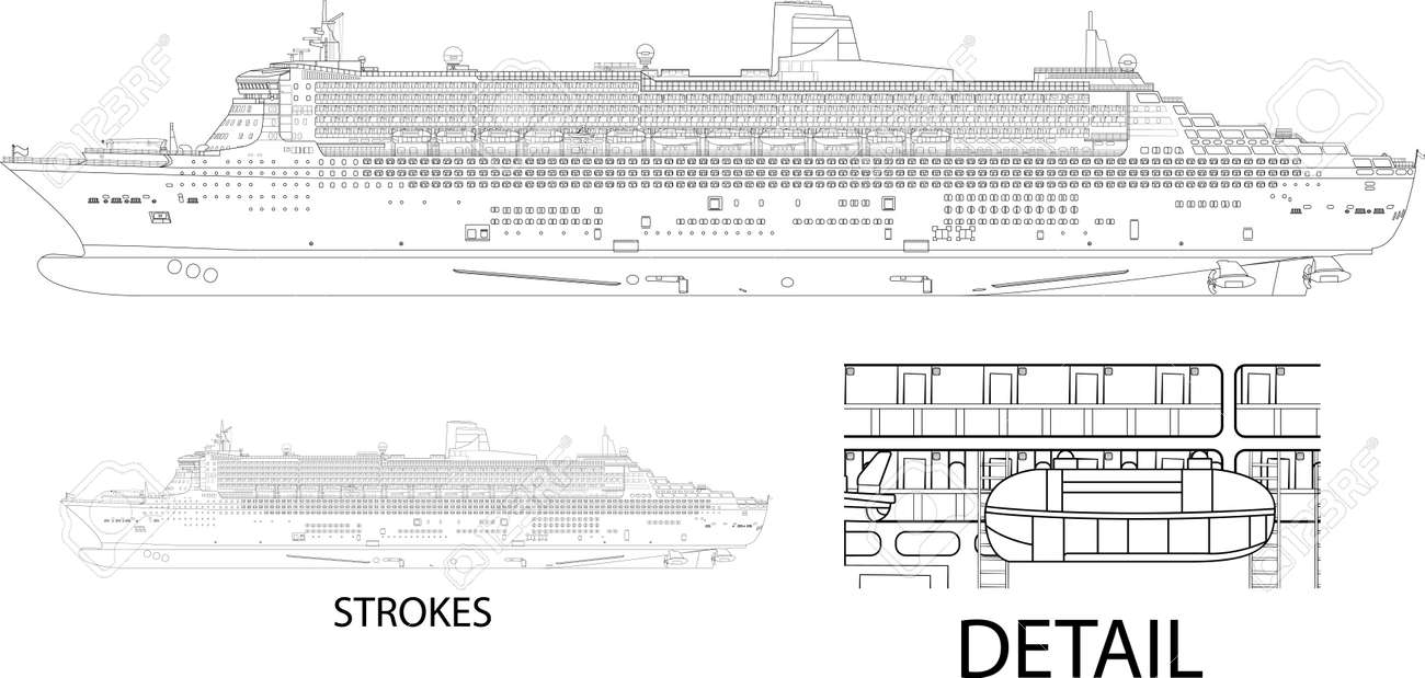 High Detailed Vector Illustration Of A Cruise Ship