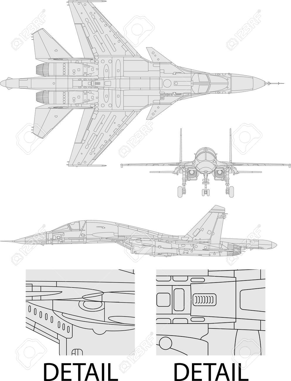 High detailed vector illustration of a modern military airplane  three side view Stock Vector - 13558049