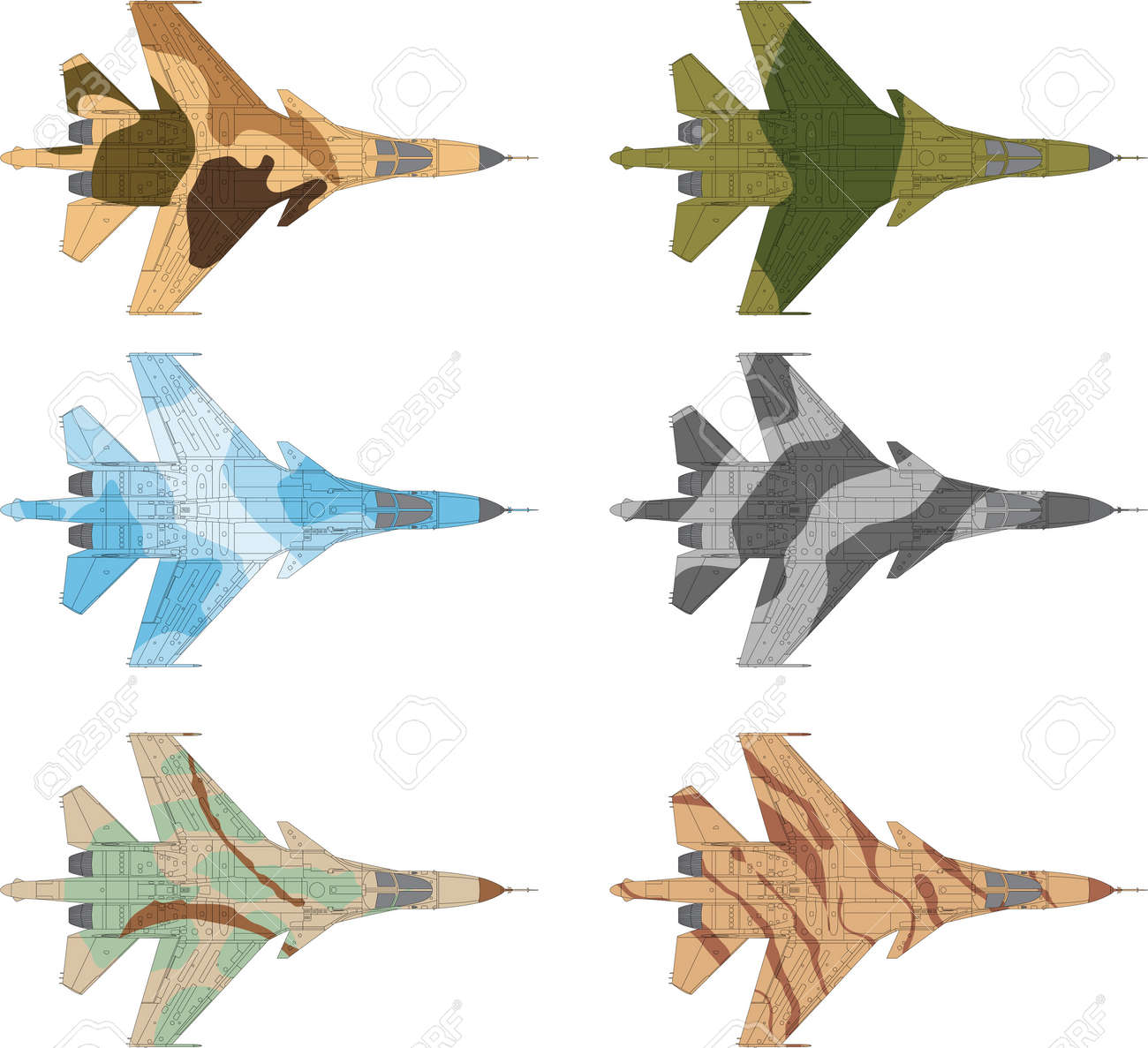High detailed vector illustration of a modern military airplane top view with six camouflage patterns - 13625510