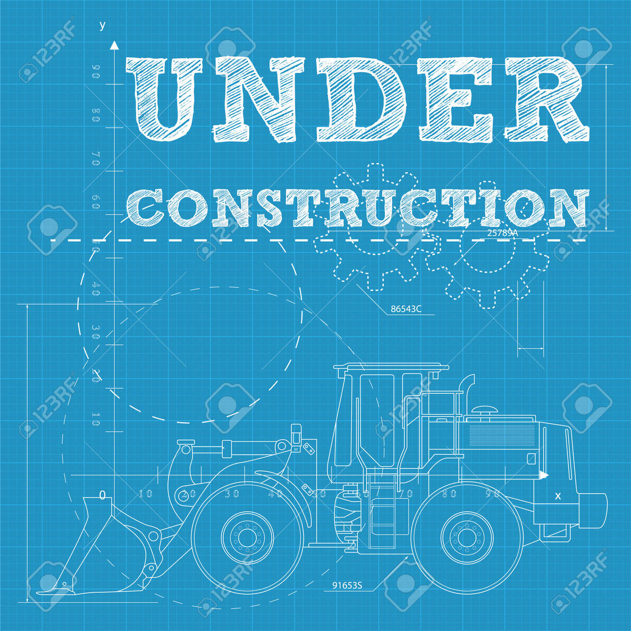 Vector illustration of under construction text on a blueprint vector illustration of under construction text on a blueprint paper with a bulldozer stock vector malvernweather Choice Image