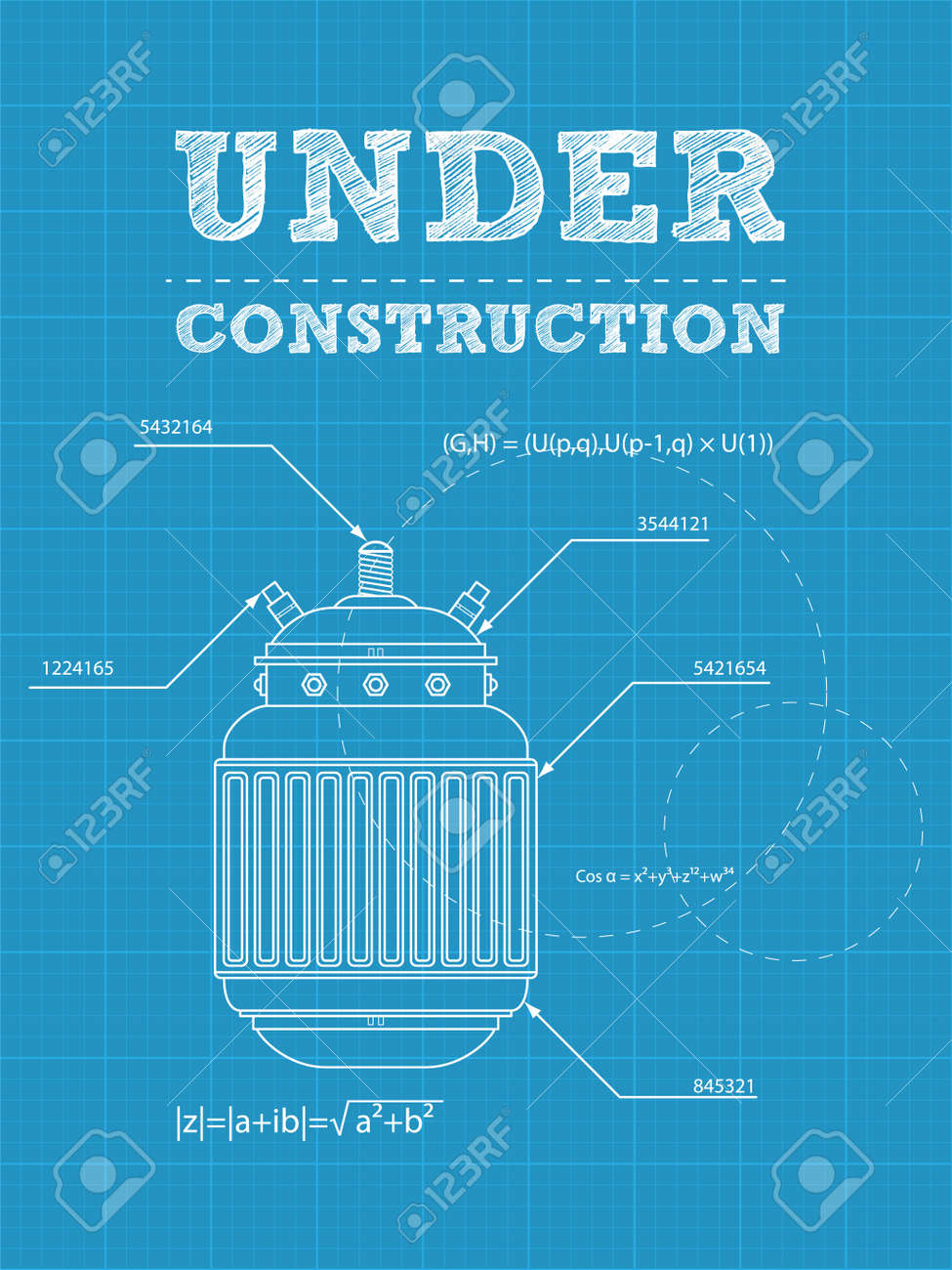 illustration of under construction text on a blueprint paper with electric device Stock Vector - 14201529