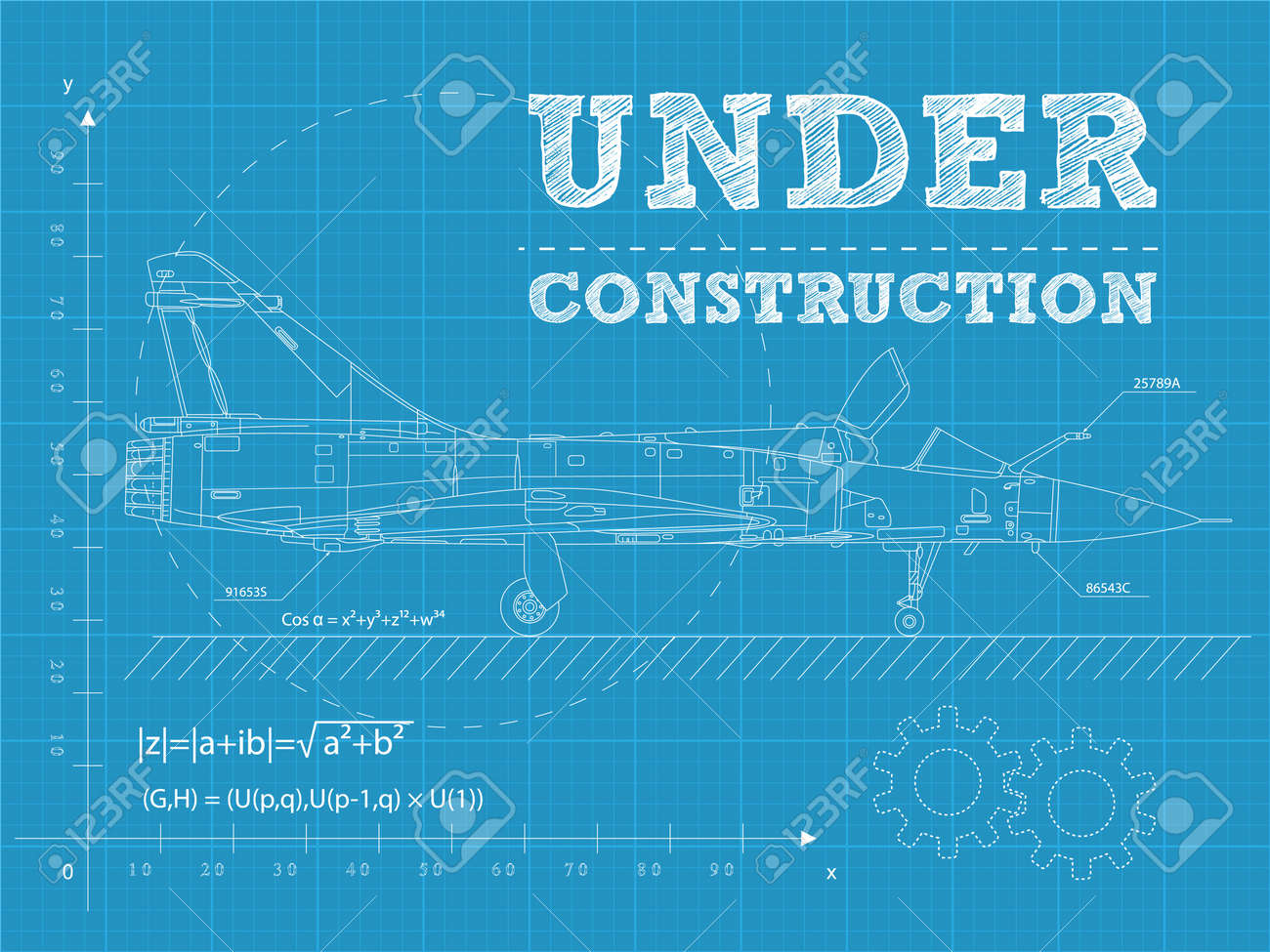 Illustration of under construction text on a blueprint paper illustration of under construction text on a blueprint paper with airplane stock vector 14201462 malvernweather Image collections