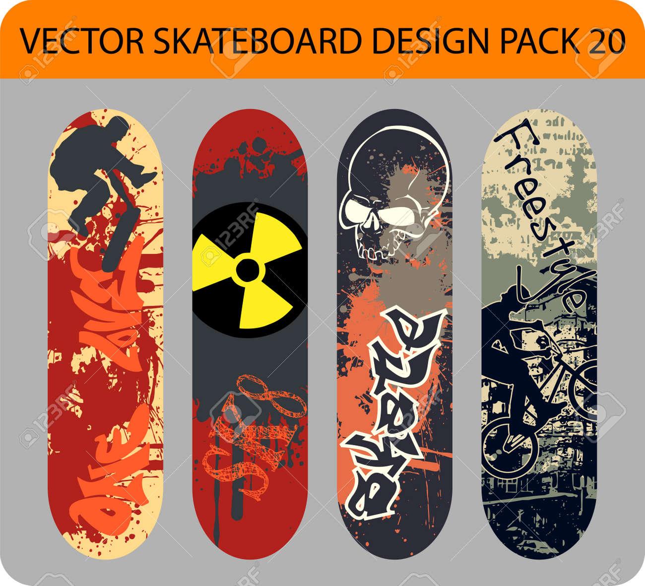 Grunge pack of 4 skateboard designs - 14201528