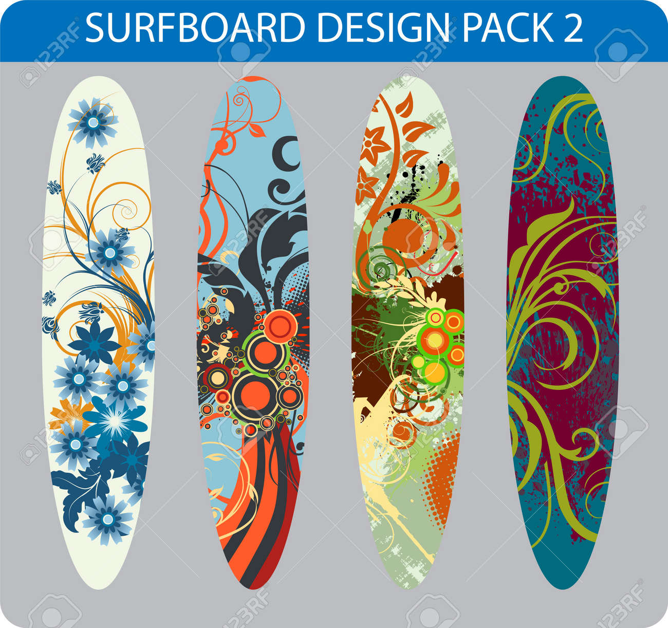 Pack Of Four Colorful Surfboard Designs Royalty Free Cliparts
