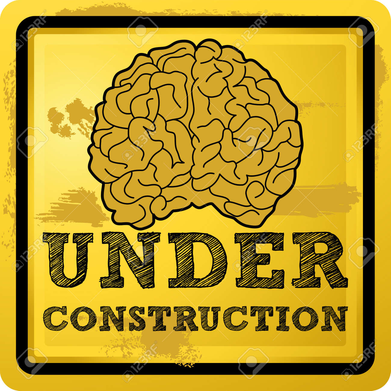 Abstract illustration of a human brain with under construction text over grunge yellow background Stock Vector - 14291676
