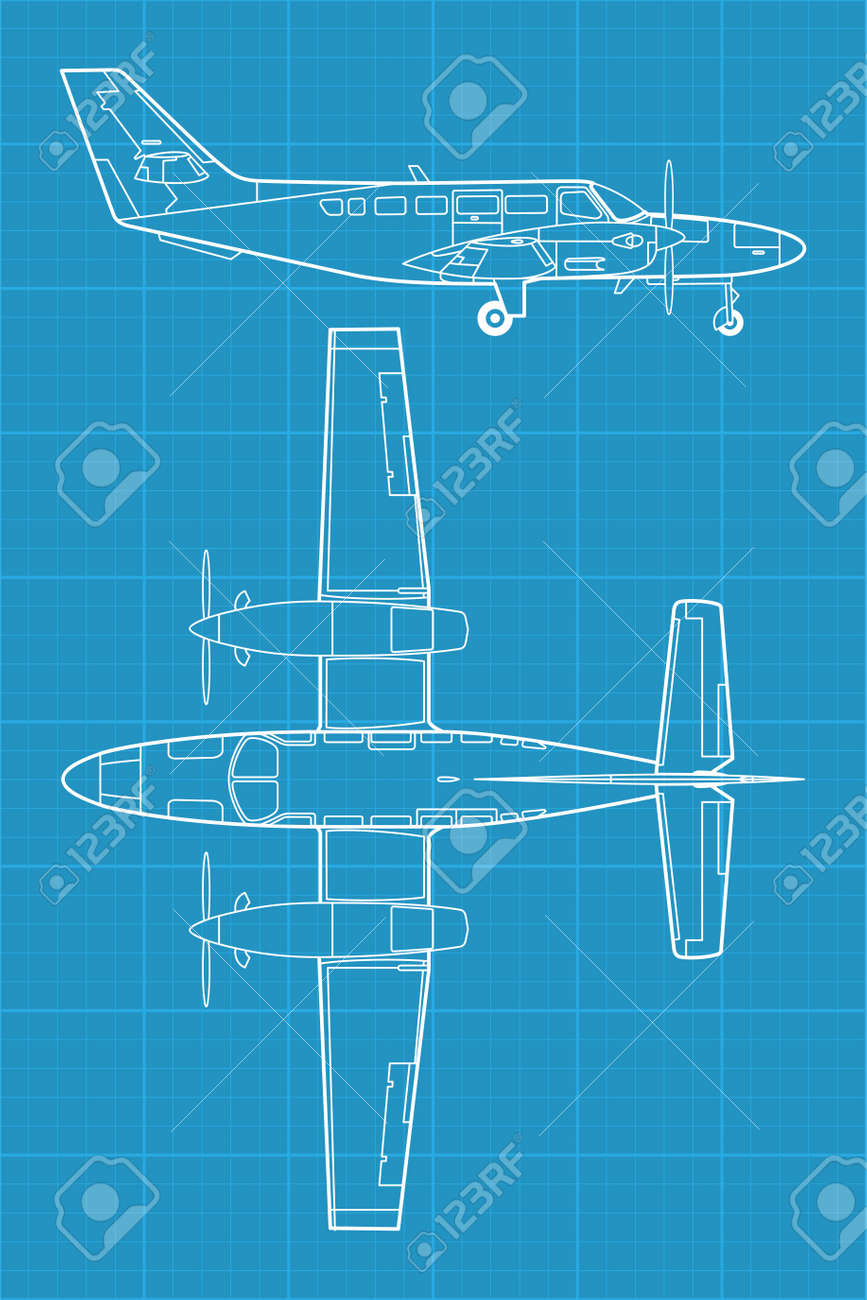 high detailed illustration of small modern civil airplane - 14291740