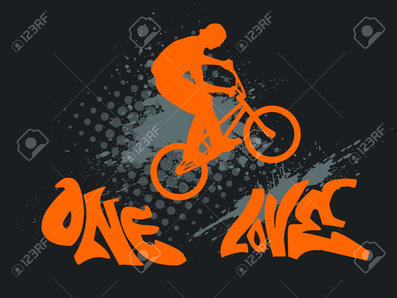 illustration with a biker silhouette, ink splash and graffiti text - one love - 14291759