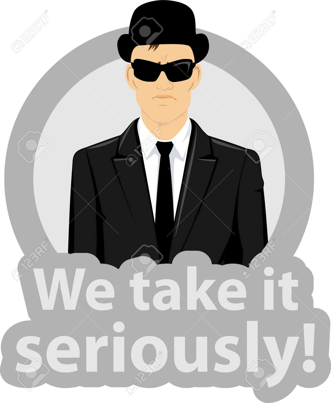 illustration of a serious business man wearing a black suit , sunglasses and hat in a circle with text - we take it seriously Stock Vector - 15125872