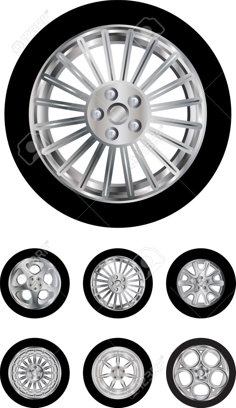 Vector pack of six car wheels models isolated on white - 16240614
