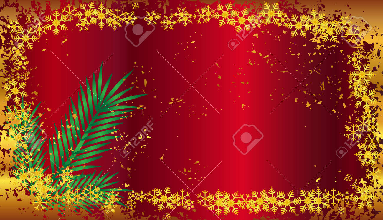 Vector Christmas background illustration with snowflakes and pine leafs Stock Vector - 16240850