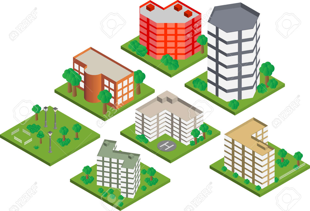 Vector pack of various isometric buildings with tiled elements, ready to use for city building game - 16240868