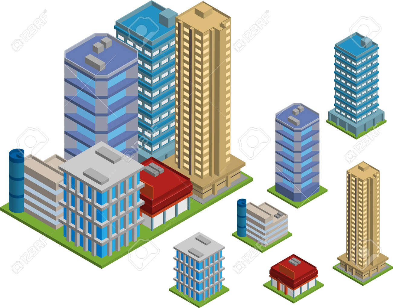 Vector pack of various isometric buildings with tiled elements, ready to use for city building game - 16240844