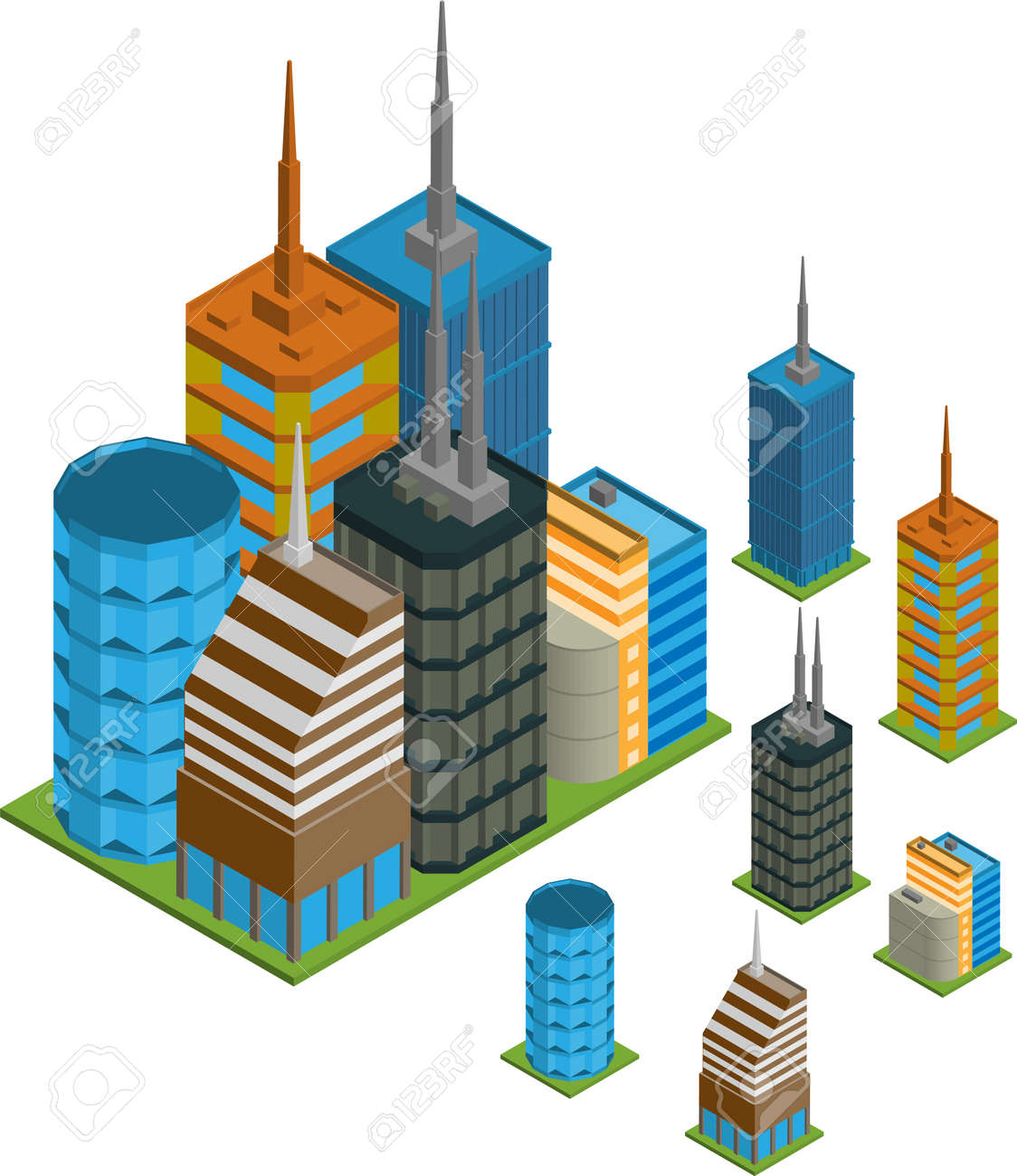 Vector pack of various isometric buildings with tiled elements, ready to use for city building game Stock Vector - 16240839