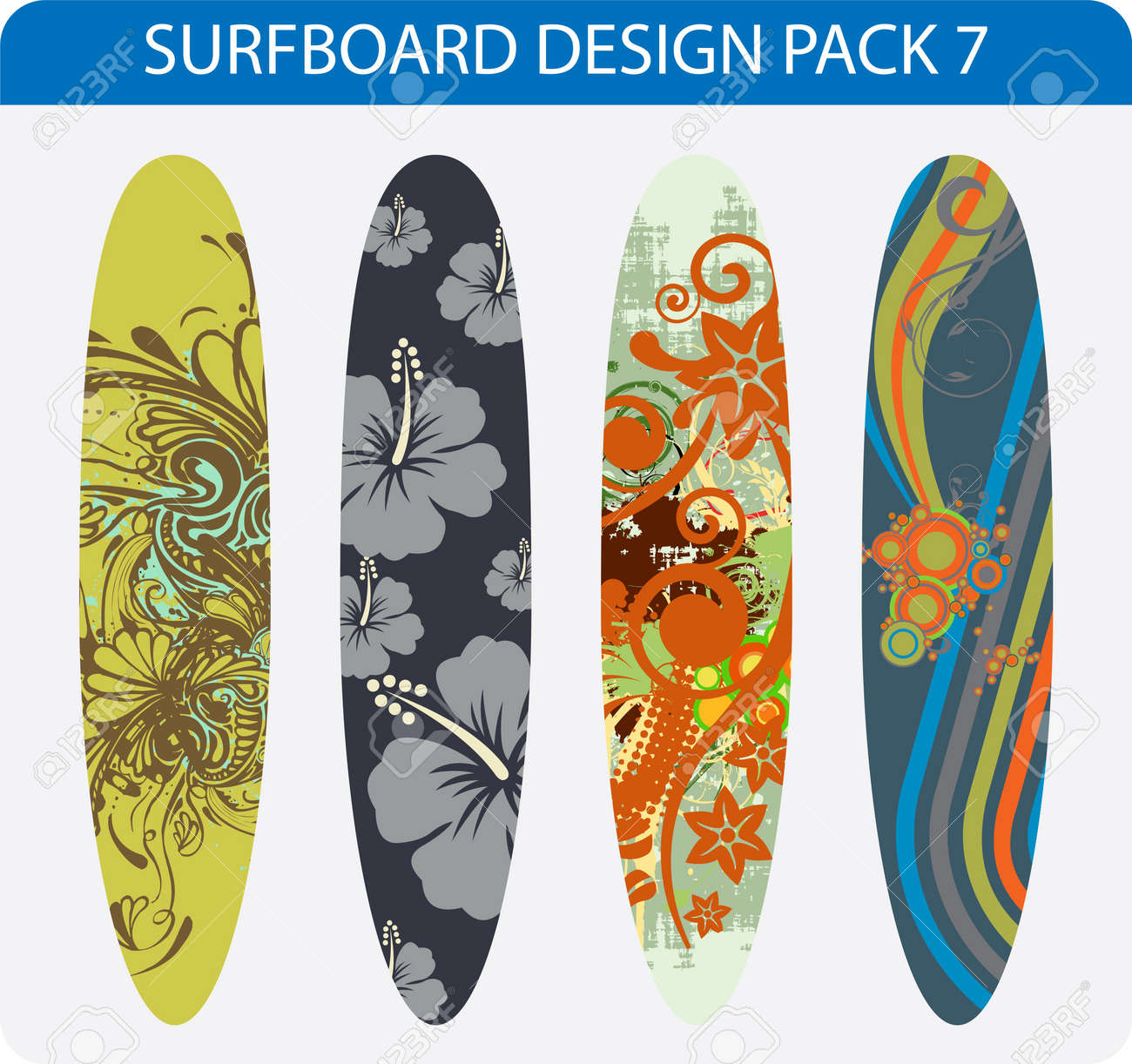 Vector pack of four colorful surfboard designs Stock Vector - 17296052