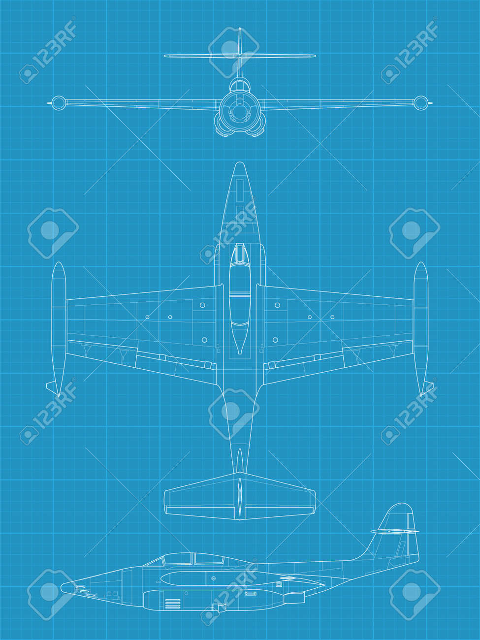 high detailed vector illustration of old military airplane - top,front and side view Stock Vector - 17982465