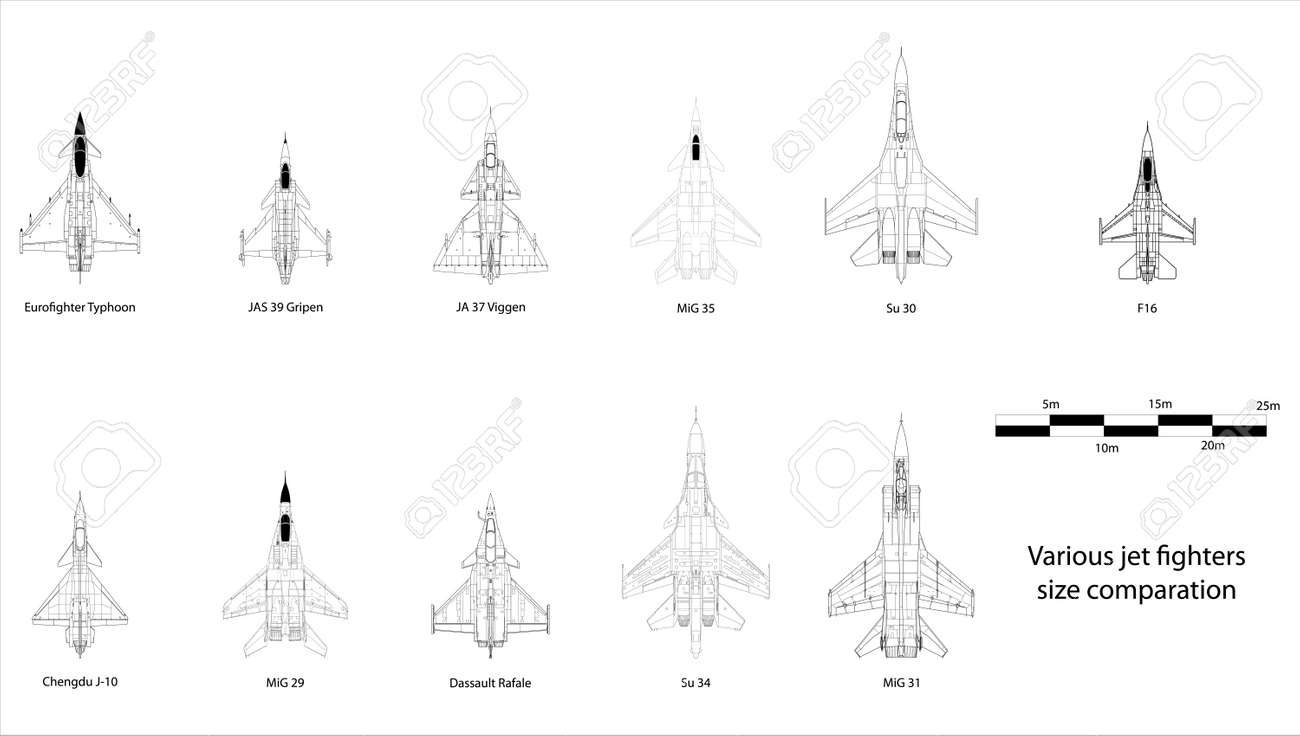 High detail vector illustration of modern jet fighters - size comparison Stock Vector - 17982463
