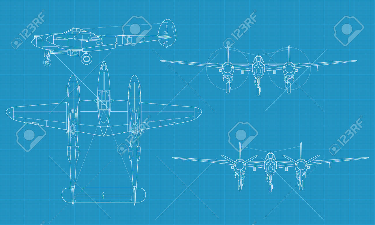 high detailed vector illustration of old military airplane - top,front and side view - 17982464