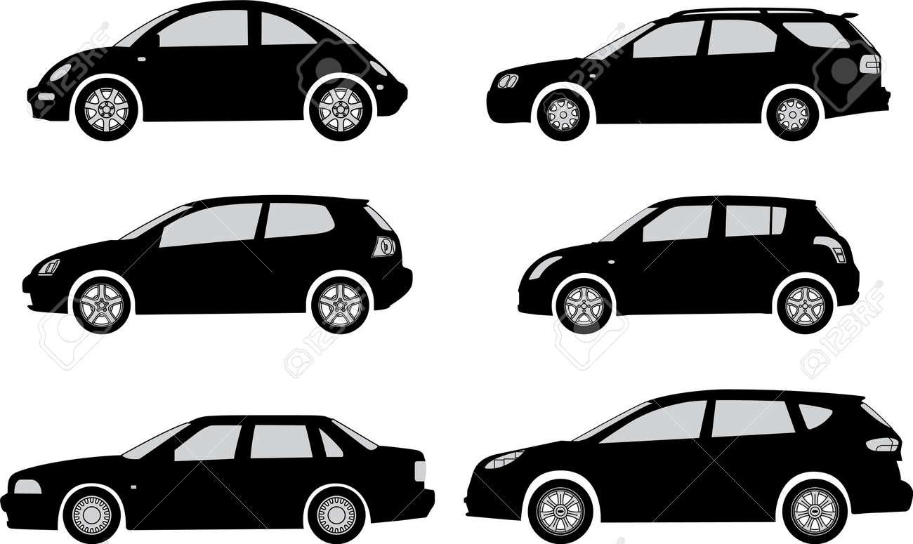 白い背景ベクトル イラスト シルエット車のイラスト素材ベクタ Image