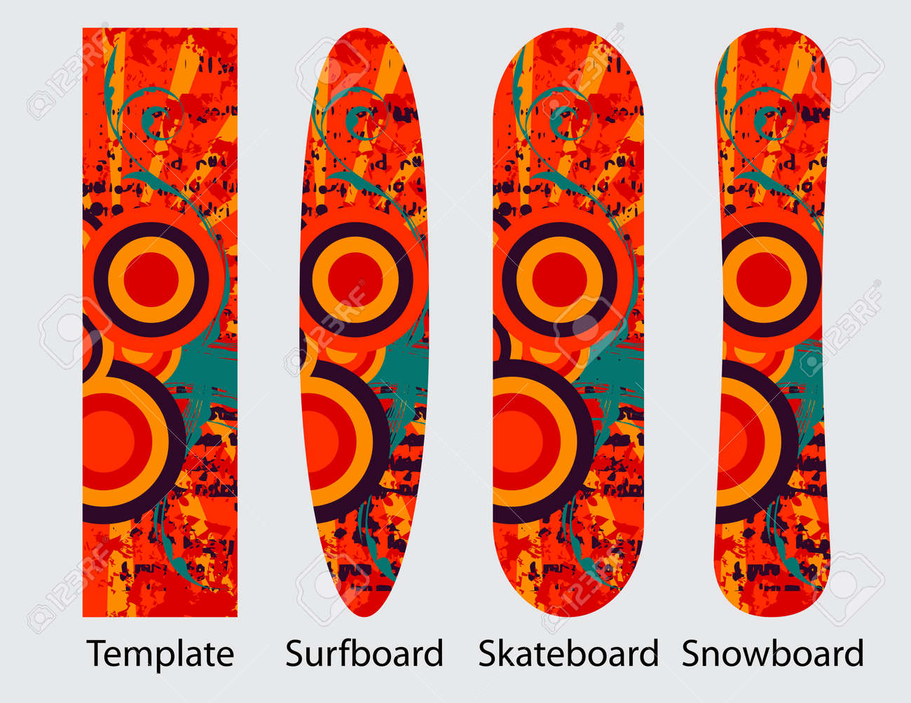 Abstract Template For Snowboard Skateboard And Surfboard Decoration