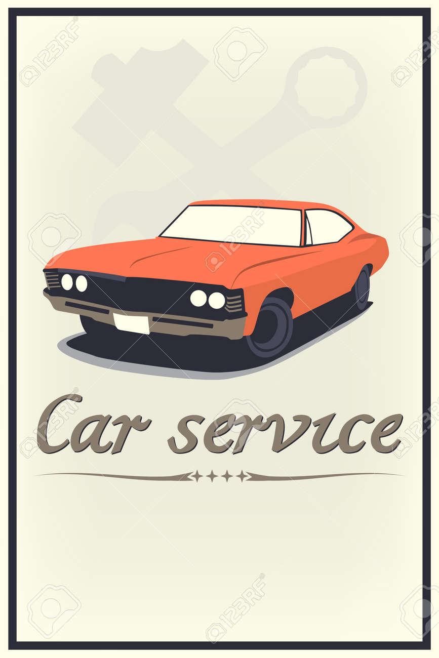 Vector vintage car service poster - 19119536